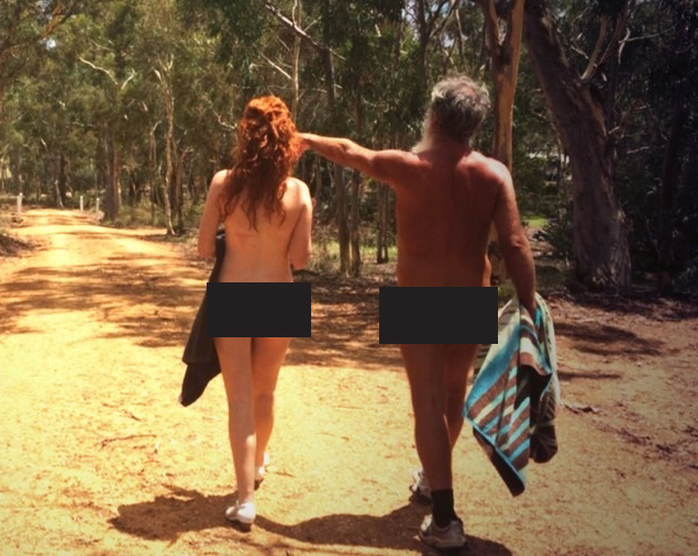 Kristen and President of the ACT nudist club, John explore the land.